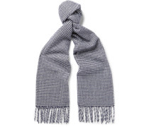 Fringed Puppytooth Cashmere Scarf