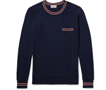 Slim-fit Contrast-trimmed Cotton Sweater