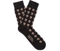 Skull-patterned Stretch Cotton-blend Socks