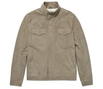 Slim-fit Nubuck Bomber Jacket