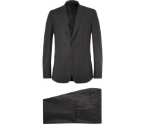 Charcoal Slim-fit Checked Stretch-wool Suit
