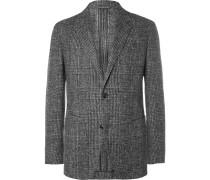 Grey Slim-fit Checked Brushed Alpaca-blend Blazer