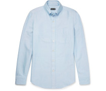 Slim-fit Button-down Collar Washed Cotton-oxford Shirt