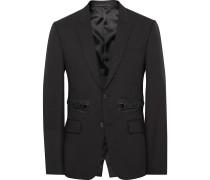 Black Slim-fit Zip-detailed Wool And Mohair-blend Blazer