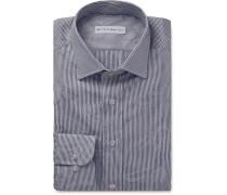 Blue Floral-jacquard Cotton Shirt