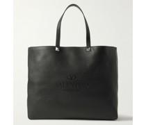 Valentino Garavani Reversible Logo-Debossed Full-Grain Leather Tote Bag