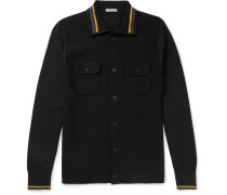Contrast-trimmed Cotton-blend Cardigan