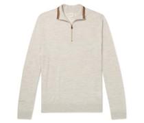 Slim-Fit Mélange Half-Zip Merino Wool Sweater