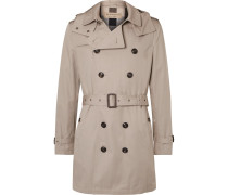 Cotton-gabardine Hooded Trench Coat