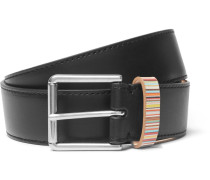 3cm Black Stripe-trimmed Leather Belt