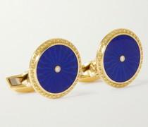 18-Karat Gold, Enamel and Diamond Cufflinks