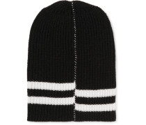 Striped Ribbed Wool Beanie
