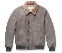 Cashmere-trimmed Suede Bomber Jacket