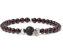 Sterling Silver, Garnet And Lava Bracelet