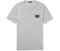 Slim-fit Appliquéd Mélange Cotton-jersey T-shirt
