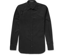 Slim-fit Harness-detailed Piqué-panelled Cotton-poplin Shirt