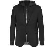 Bonded-jersey Blazer With Hooded Gilet