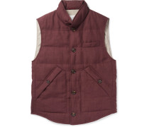 Slub Wool, Linen And Silk-blend Down Gilet