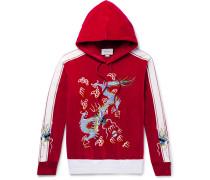 Satin-trimmed Embroidered Cotton-blend Velvet Hoodie