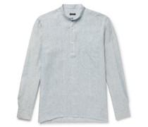 Grandad-Collar Striped Linen Half-Placket Shirt