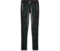 Skinny-fit Checked Wool-twill Drawstring Trousers