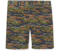 Slim-fit Camouflage-print Stretch-cotton Cargo Shorts