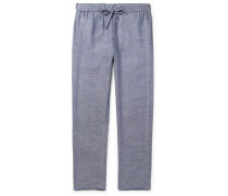 Linen and Cotton-Blend Drawstring Trousers