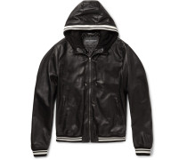 Jersey-trimmed Leather Hooded Jacket