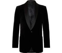 Chaucer Satin-Trimmed Cotton-Velvet Tuxedo Jacket