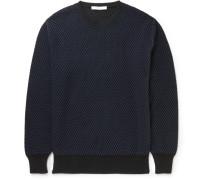 Slim-fit Mesh-effect Cotton-blend Sweater