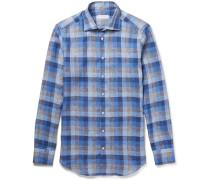 Mercurino Slim-fit Checked Linen Shirt