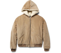 Oversized Faux Shearling-lined Cotton-corduroy Bomber Jacket