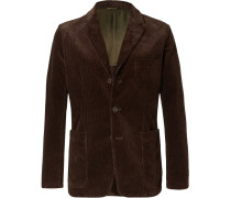 Brown Slim-fit Cotton-corduroy Blazer