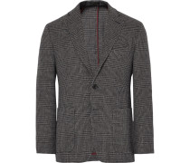 Grey Slim-fit Prince Of Wales Checked Wool Blazer
