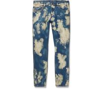 Slim-fit Studded Acid-washed Denim Jeans