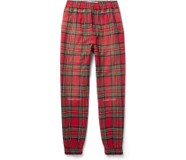 Tapered Checked Cotton-blend Trousers