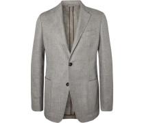 Light-grey Unstructured Mélange Linen, Alpaca And Silk-blend Blazer - Gray