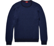 Elbow-patch Herringbone Wool Sweater