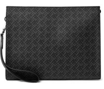 Leather-Trimmed Logo-Print Coated-Canvas Pouch