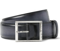 3.5cm Black Classic Polished-leather Belt