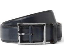 3.5cm Blue Polished-leather Belt