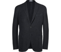 Navy Slim-fit Checked Linen And Cotton-blend Blazer