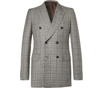 Slim-fit Double-breasted Prince Of Wales Checked Wool And Mohair-blend Suit Jacket