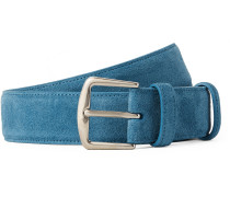 3.5cm Light-blue Suede Belt