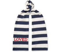 Embroidered Striped Cotton-jersey Scarf