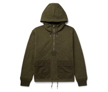 Quilted Cotton-Twill Hooded Half-Zip Jacket