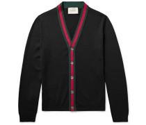 Stripe-trimmed Wool Cardigan