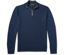 Cotton, Silk And Cashmere-blend Half-zip Sweater