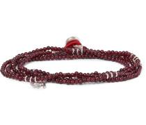 Saracino Garnet Bead And Silver Wrap Bracelet