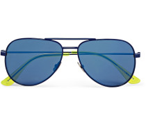 Surf Aviator-style Metal Mirrored Sunglasses